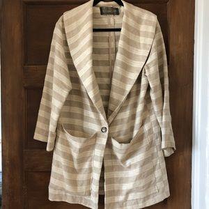 Reformation striped beige linen coat jacket sz S